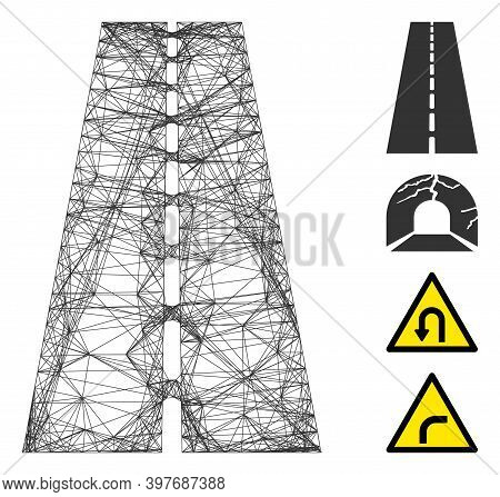 Vector Network Straight Road. Geometric Hatched Frame 2d Network Generated With Straight Road Icon,