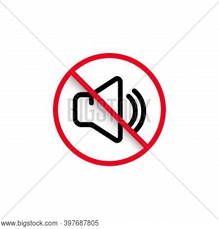 Silent Mode Of Smartphone. Speaker Icon. Dynamic Sign. A Symbol Of Peace And Quiet, A Call To Turn O