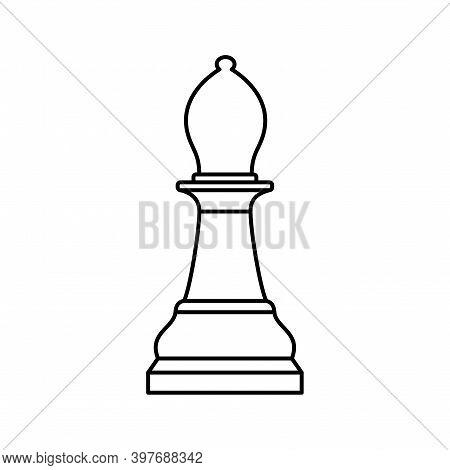 White Chess Bishop Piece On White Background