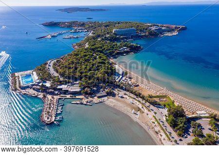 Athens Greece Riviera, Asteras Vouliagmeni Panorama. Aerial Drone View.