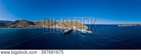 Kea, Tzia Island, Cyclades, Greece. Aerial Drone View Of Port.
