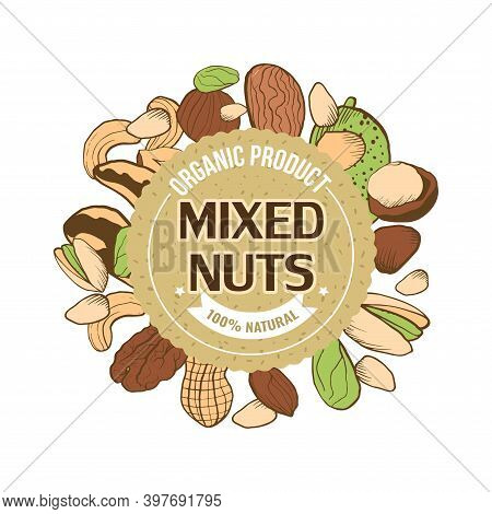 A Sticker For Packing With Nuts. A Sketch Of Colored Nuts In A Round Frame And A Round Kraft Sticker