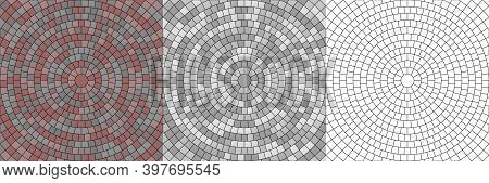 Vector Set Of Seamless Round Pavement Textures Of Street Tiles. Circle Repeating Patterns Of Radial