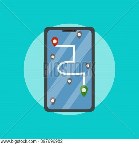 Gps Navigation In The Smartphone With Red, Green And Gray Pointers. Track Navigation Pins, Map Navig