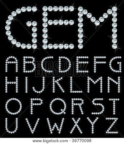 vector alphabet with diamonds poster