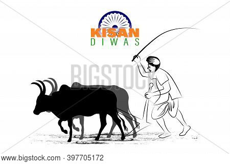 Vector Illustration For Indian Day Kisan Diwas Means Farmer Days.