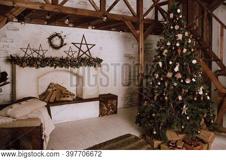 Living Room In Scandinavian Style With A Christmas Decor. Holiday Background. New Years Decorations.