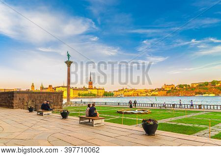 Sweden, Stockholm, May 29, 2018: View Of Monument Engelbrekt And People Sitting Near Stockholm City