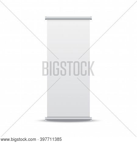 Roll Up Banner. Vertical Stand Mockup On White Backdrop. Template For Presentation Or Exhibition. Bl