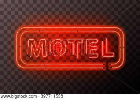 Bright Red Neon Motel Sign Board With Rectangle Frame On Transparent