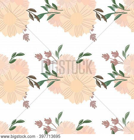 Seamless Floral Pattern. Flowers Texture. Simplicity Flower Surface Design