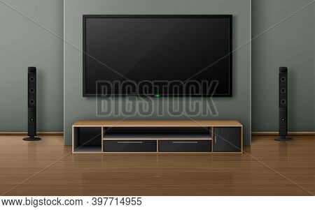 Home Theater With Tv Screen And Speakers In Modern Living Room. Vector Realistic Interior With Plasm