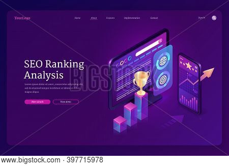Seo Ranking Analysis Banner. Digital Analytics Of Search Engine Optimization Of Content. Vector Land