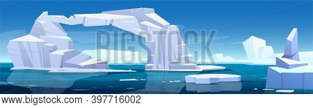 Arctic Landscape With Melting Iceberg And Glaciers Floating In Sea. Concept Of Global Warning And Cl