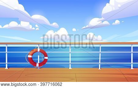 Seascape View From Cruise Ship Deck. Ocean Landscape With Calm Water Surface And Clouds In Blue Sky.