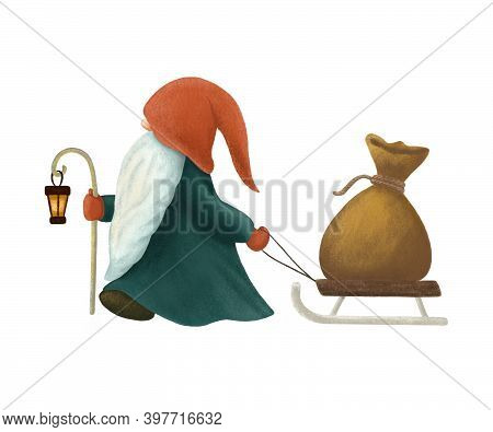 Cartoon Christmas Scandinavian Gnome With Glowing Lantern Pulling A Wooden Sleigh With A Burlap Sack