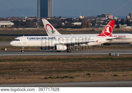Istanbul / Turkey - March 27, 2019: Turkish Airlines Airbus A321 Tc-jri Passenger Plane Departure At