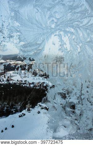 Winter Background, Frosty Window.ice Patterns On Winter Glass.frosty Snowflake Pattern On A Winter W