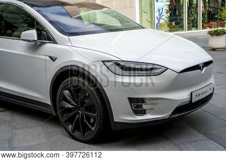 Villeneuve- Loubet, France 01.12.2020 Tesla Is On Display Outside The Showroom At The Tesla Store In