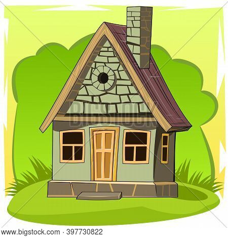 Stone House. Fabulous Cartoon Object. Cute Childish Style. An Ancient Dwelling. Tiny, Small. On Abst