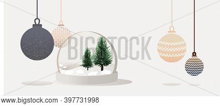Merry Christmas And Happy New Year Design. Realistic Glass Snow Globe With Christmas Trees And Snow