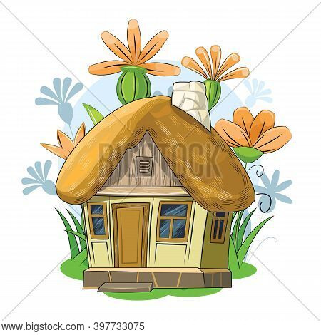 Old Garden House With A Thatched Roof. Fabulous Cartoon Object. Cute Childish Style. Ancient Dwellin