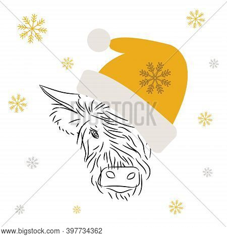 Fashionable Modern Bull Wearing A Christmas Yellow Hat With Bubo.