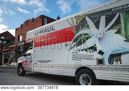 Ottawa, Ontario, Canada - November 18, 2020: A U-haul Rented Moving Truck Parked In The Byward Marke