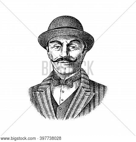 Victorian Gentleman. Belgian Man With Mustache. Elegant Man In Vintage Retro Style. Vector Illustrat