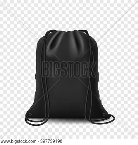 Backpack Black Mockup Backpack Bag. Drawstring Isolated Pouch On White Background. Blank Template Wi