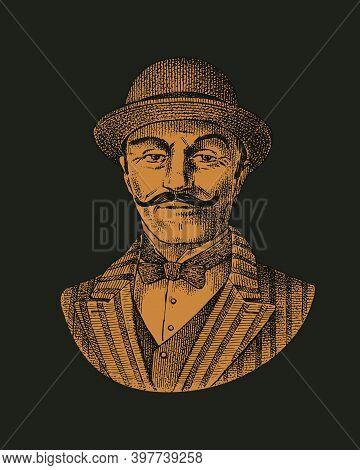 Victorian Gentleman. Belgian Man With Mustache. Elegant Man In Vintage Retro Style. Vector Illustrat