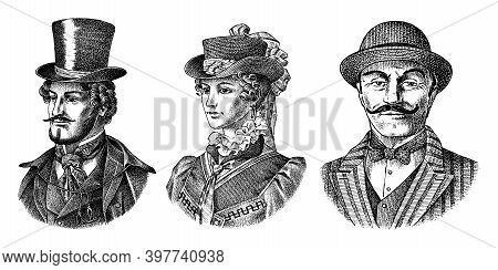Victorian And Woman Gentleman With Hat And Mustache. Belgian Man And Lady In Vintage Retro Style. Ve