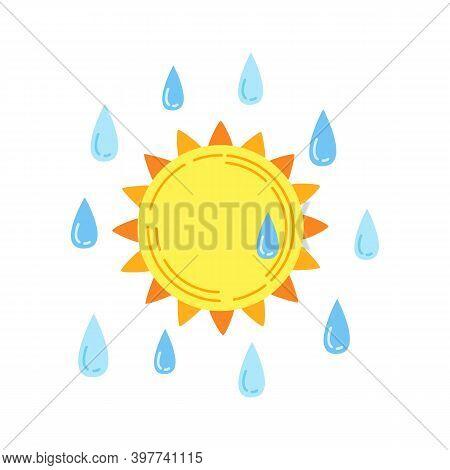 Sun With Rain Cartoon Style Abstract Downpour Drop