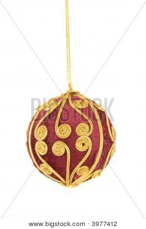 Red Vevet Ball With Gold Decorations