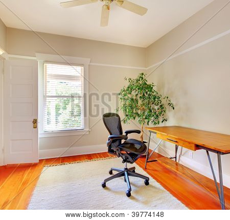 Home Office Room Interior With Desk.
