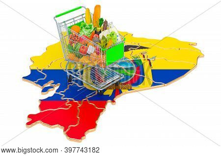 Purchasing Power In Ecuador Concept. Shopping Cart With Ecuadorian Map, 3d Rendering Isolated On Whi