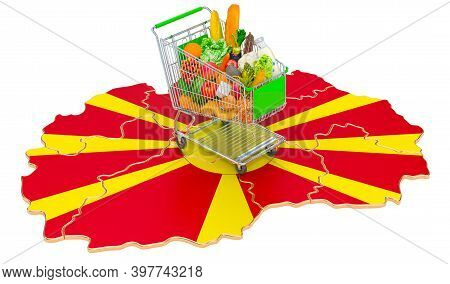 Purchasing Power In Macedonia Concept. Shopping Cart With Macedonian Map, 3d Rendering Isolated On W