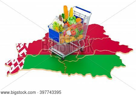 Purchasing Power In Belarus Concept. Shopping Cart With Belorussian Map, 3d Rendering Isolated On Wh