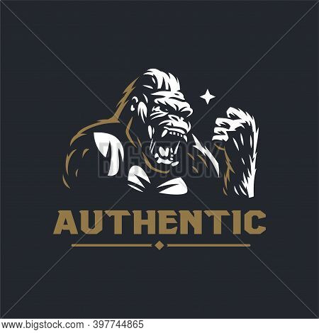 Angry Gorilla Head. The Wild Monkey Growls. Stylized Vector Illustration.