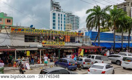 Cartagena, Columbia - November 5, 2019: An Open Hand Craft Market With Clothing, Accessories, And So