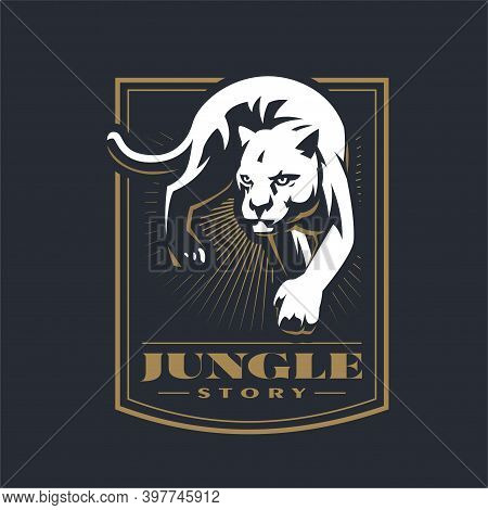 Crouching Panther Or Puma. Stylized Vector Illustration.