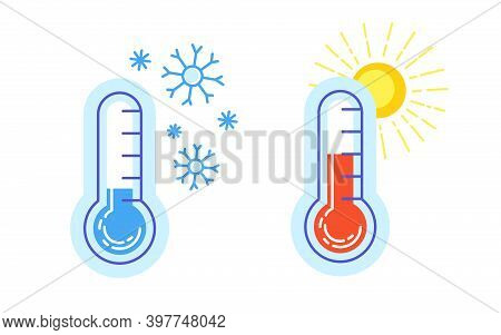 Hot And Cold Icon Thermometer Warm Sun Snowflake