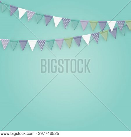 Banner With Garland Of Flags And Ribbons. Holiday Party Background For Birthday Party, Carnaval.  Il