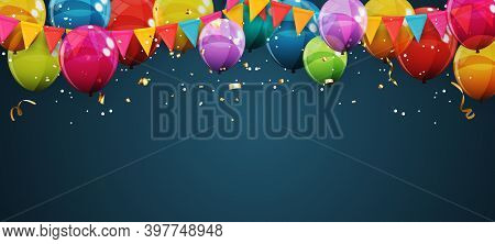 Abstract Holiday Background With Balloons. Can Be Used For Advertisment, Promotion And Birthday Card
