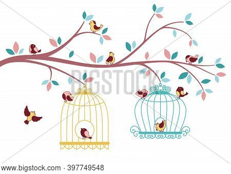 Birds Flying Out Cage Tree Branch Card Silhouette