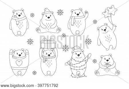 Christmas Polar Bear Cartoon Black Outline Set