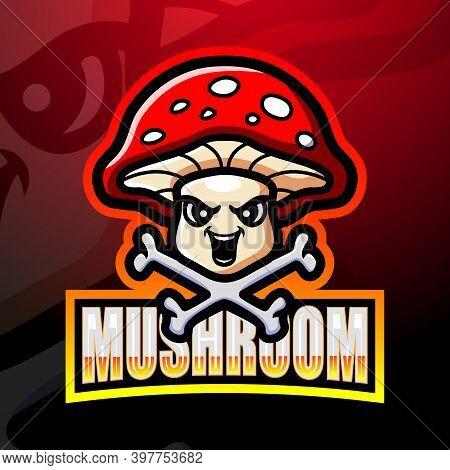 Vector Illustration Of Mushroom Mascot Esport Logo Design