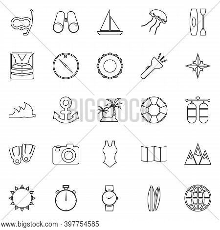 Diving Line Icons On White Background, Stock Vector