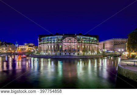 Stockholm, Sweden - April 03, 2012: View over Strommen. The Riksdagshuset, the Swedish parliament building