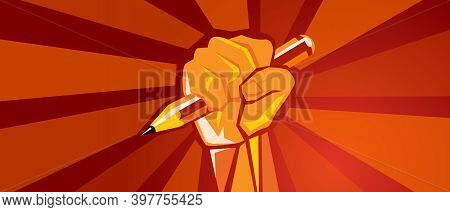 Hand Holding Pencil Education Reform Revolution Raised Fist Red Background Illustration